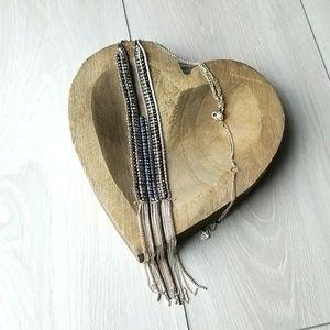 Nakamol Silver Beaded & Tassled Pendant Necklace